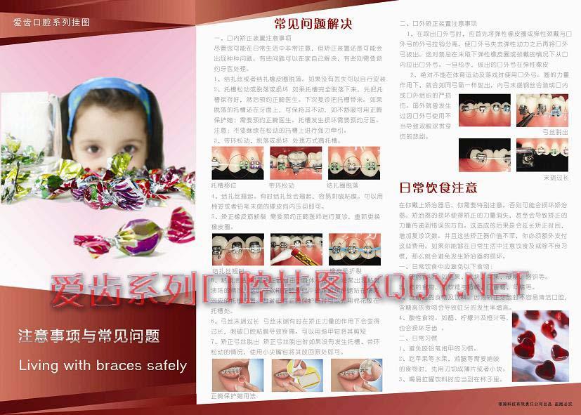 爱齿浓情玫红系列口腔挂图-牙齿矫正常见问题