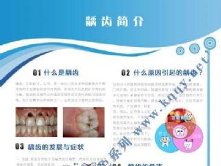爱齿竖版蓝色口腔挂图――龋齿的病因与症状
