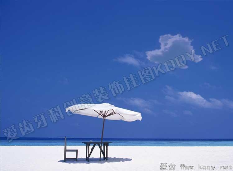 海滨 爱齿创意牙科装饰挂图宣传画 沙发背景墙 候诊区精美图